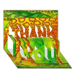 Patterned Giraffe  Thank You 3d Greeting Card (7x5)