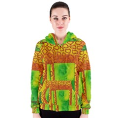 Patterned Giraffe  Women s Zipper Hoodies