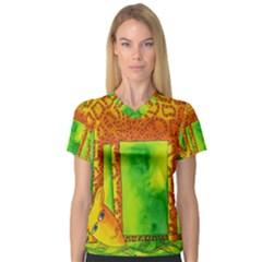Patterned Giraffe  Women s V-Neck Sport Mesh Tee