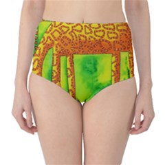 Patterned Giraffe  High-Waist Bikini Bottoms