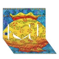 Patterned Fish I Love You 3D Greeting Card (7x5)
