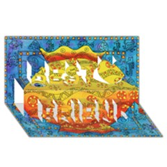 Patterned Fish Best Friends 3D Greeting Card (8x4)