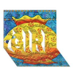 Patterned Fish GIRL 3D Greeting Card (7x5)
