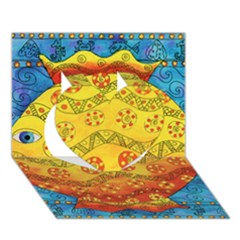 Patterned Fish Heart 3d Greeting Card (7x5)
