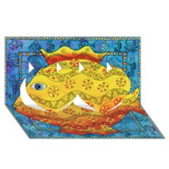 Patterned Fish Twin Hearts 3d Greeting Card (8x4)