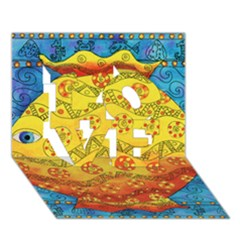Patterned Fish LOVE 3D Greeting Card (7x5)
