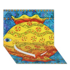 Patterned Fish Heart Bottom 3D Greeting Card (7x5)
