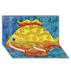 Patterned Fish Twin Heart Bottom 3D Greeting Card (8x4)