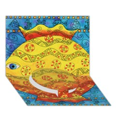 Patterned Fish Circle Bottom 3d Greeting Card (7x5)