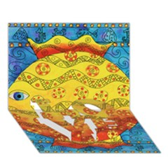 Patterned Fish LOVE Bottom 3D Greeting Card (7x5)