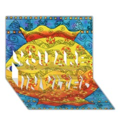 Patterned Fish You Are Invited 3d Greeting Card (7x5)