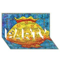Patterned Fish PARTY 3D Greeting Card (8x4)