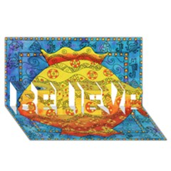 Patterned Fish BELIEVE 3D Greeting Card (8x4)