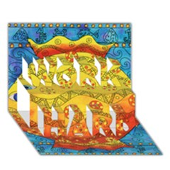 Patterned Fish WORK HARD 3D Greeting Card (7x5)