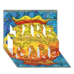 Patterned Fish TAKE CARE 3D Greeting Card (7x5)