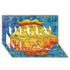 Patterned Fish Merry Xmas 3d Greeting Card (8x4)