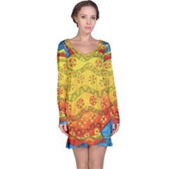 Patterned Fish Long Sleeve Nightdresses