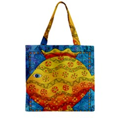 Patterned Fish Zipper Grocery Tote Bags