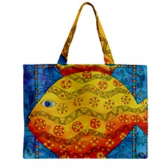 Patterned Fish Zipper Tiny Tote Bags