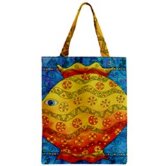 Patterned Fish Zipper Classic Tote Bags