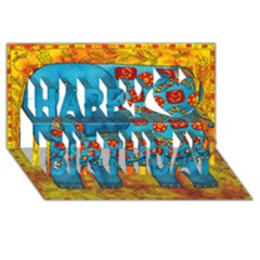 Patterned Elephant Happy Birthday 3D Greeting Card (8x4)