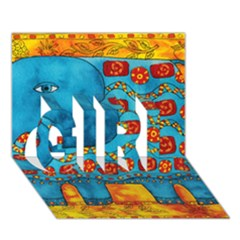 Patterned Elephant GIRL 3D Greeting Card (7x5)