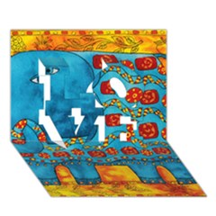 Patterned Elephant Love 3d Greeting Card (7x5)