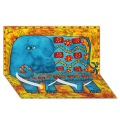 Patterned Elephant Twin Heart Bottom 3d Greeting Card (8x4)