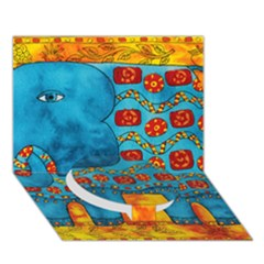Patterned Elephant Circle Bottom 3d Greeting Card (7x5)