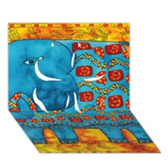 Patterned Elephant Clover 3D Greeting Card (7x5)
