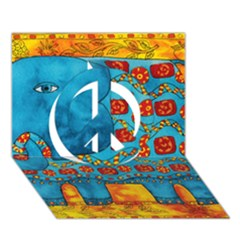 Patterned Elephant Peace Sign 3D Greeting Card (7x5)
