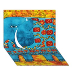 Patterned Elephant Circle 3D Greeting Card (7x5)