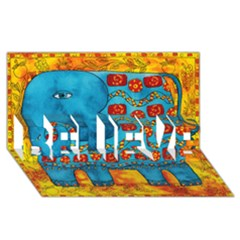 Patterned Elephant BELIEVE 3D Greeting Card (8x4)
