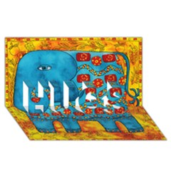 Patterned Elephant HUGS 3D Greeting Card (8x4)