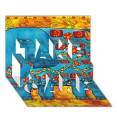 Patterned Elephant Take Care 3d Greeting Card (7x5)