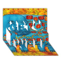Patterned Elephant Get Well 3d Greeting Card (7x5)