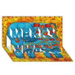 Patterned Elephant Merry Xmas 3d Greeting Card (8x4)