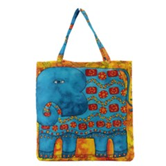 Patterned Elephant Grocery Tote Bags
