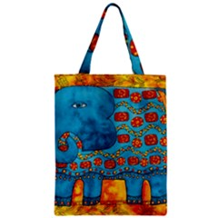 Patterned Elephant Zipper Classic Tote Bags