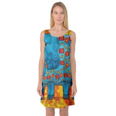 Patterned Elephant Sleeveless Satin Nightdresses