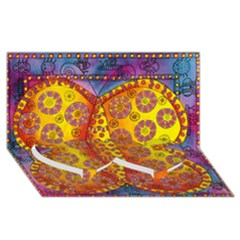 Patterned Butterfly Twin Heart Bottom 3D Greeting Card (8x4)