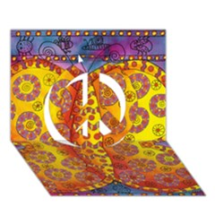 Patterned Butterfly Peace Sign 3D Greeting Card (7x5)