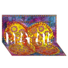 Patterned Butterfly Best Sis 3d Greeting Card (8x4)