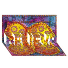 Patterned Butterfly Believe 3d Greeting Card (8x4)