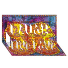 Patterned Butterfly Laugh Live Love 3D Greeting Card (8x4)