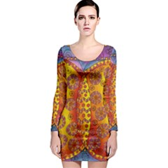 Patterned Butterfly Long Sleeve Bodycon Dresses