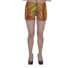 Patterned Butterfly Skinny Shorts