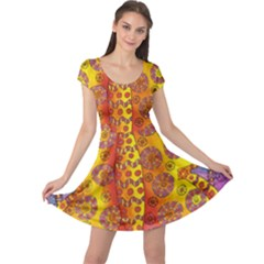 Patterned Butterfly Cap Sleeve Dresses