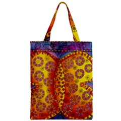 Patterned Butterfly Zipper Classic Tote Bags