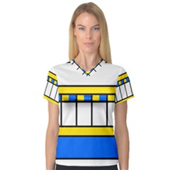 Stripes and squares Women s V-Neck Sport Mesh Tee